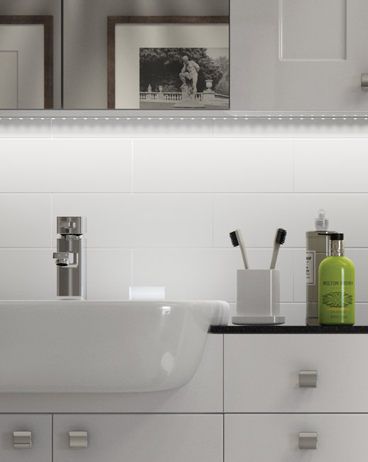 Fresco White Gloss Classic base units and Cilantro semi recessed basin