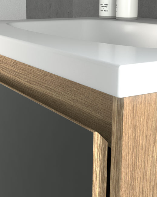 Stylish chamfered edge on doors and drawers