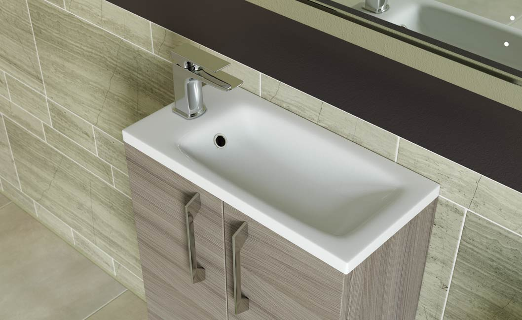 Serena 2 door vanity unit 500mm with basin