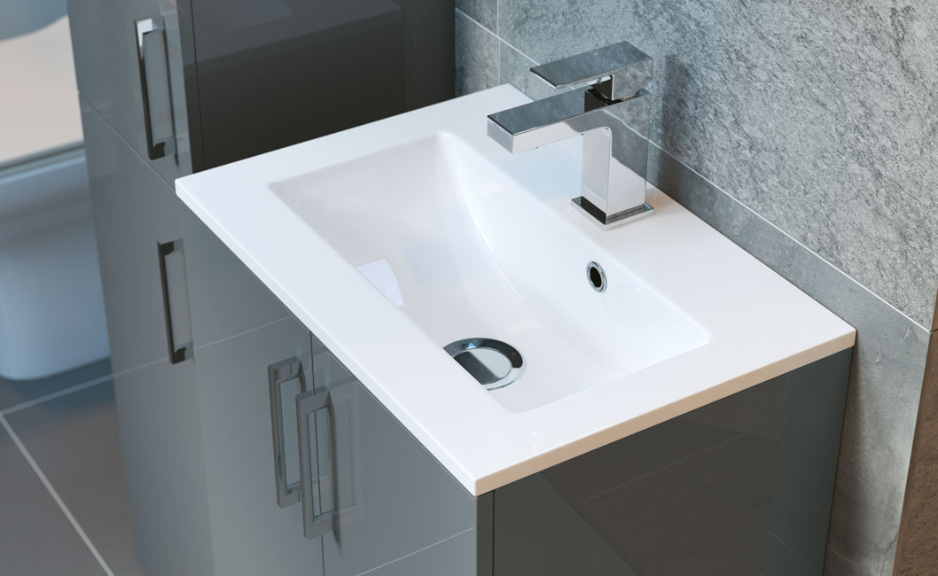 Volta vanity unit with basin 500mm and Quadro basin mixer