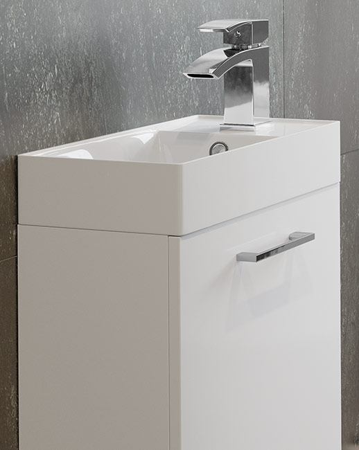 Volta vanity unit with basin 400mm and Rima cloakroom basin mixer