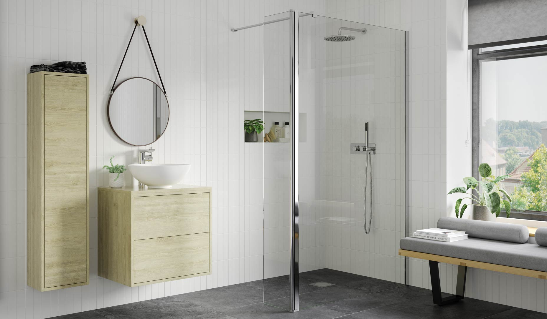 RefleXion 8 Wetroom panel with 300mm rotatable return shown