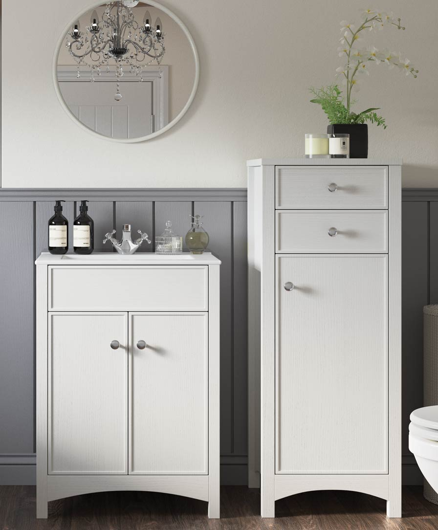 Perla 2 drawer vanity unit 600mm with basin and WC unit