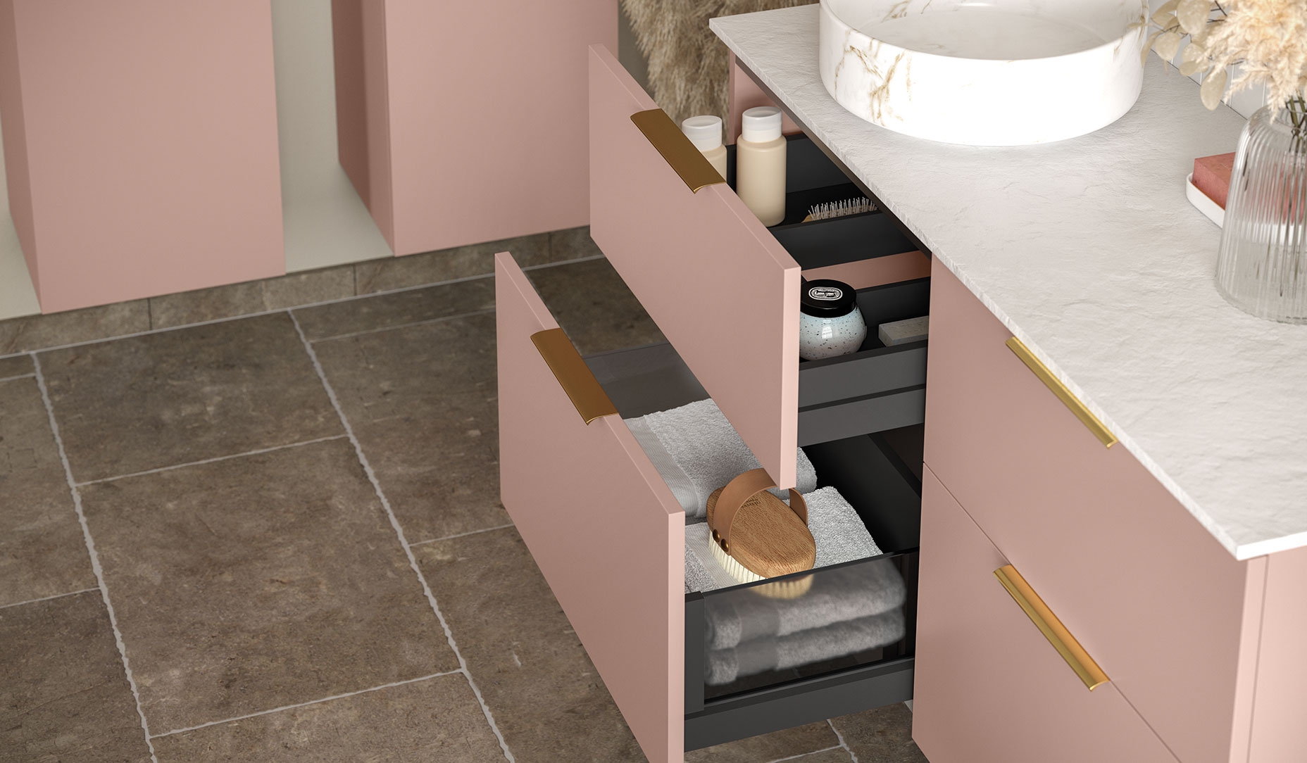 Perla push to open drawer with accessory pack