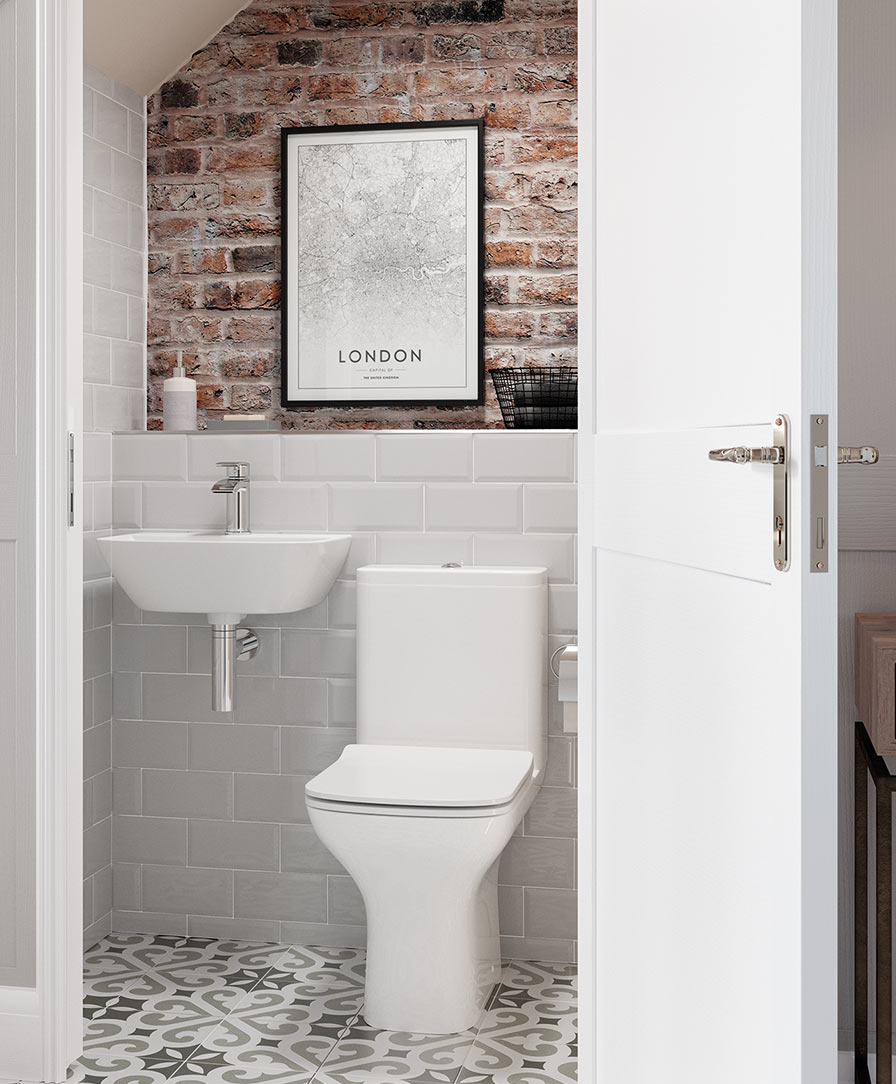 Cedarwood corner cloakroom basin with modern bottle trap