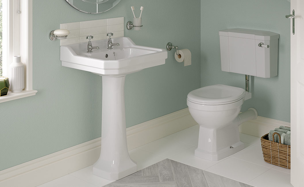 2 tap hole basin with full pedestal and low level WC